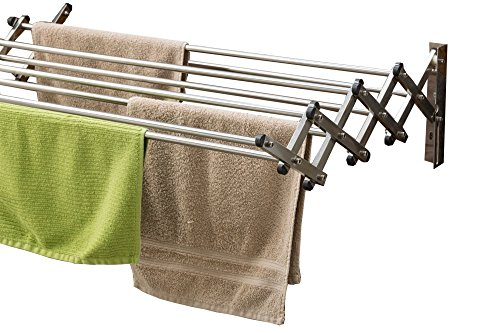 AERO W Space Saver Racks Stainless Steel Wall Mounted Collapsible Laundry Folding Clothes Drying Rack 60 Pound Capacity 22.5 Linear Ft Clothesline ()