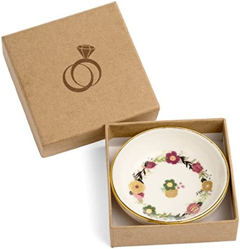 SPIRA Designs Floral Flower Jewelry Ring Dish in Gift Box