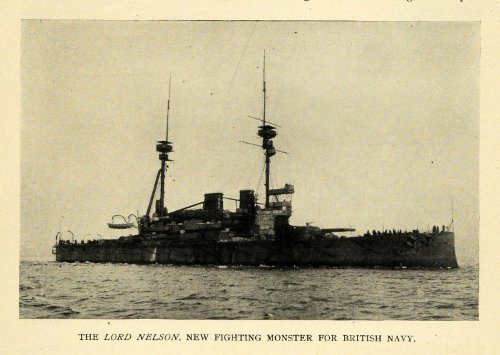1908 Print Lord Nelson British Navy Battleship Military - Original Halftone Print by PeriodPaper LLC-Collectible...