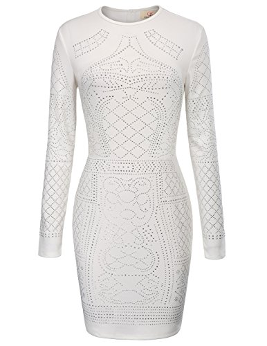 Elastic Sequined Beaded Embellished Bodycon Pencil Dress White Size L CL1007-3 (Beaded Pencil)