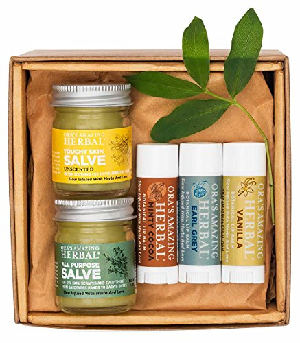 and Balms for Eczema and Dry Skin, Skin Care Travel Size Minty Cocoa, Vanilla, Earl Grey, 1 oz Touchy Skin Salve, 1 oz All Purpose Salve ()