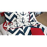 NAVY BLUE & RED ANCHORS BABY CRIB BEDDING
