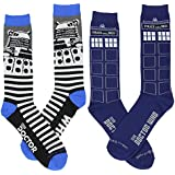 Doctor Who Dr Who Men's (2) Pair Crew Cut Socks Size 9-13 DW-0215