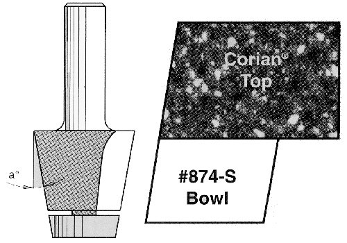 Amana Tool 57168 Carbide Tipped Undermount Bowl Solid Surface 1-1/4 D x 1 Inch CH x 10 Deg Angle x 1/2 SHK Router Bit