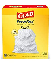Glad ForceFlex Tall Kitchen Drawstring Trash Bags, 13 Gallon White Trash Bag, Unscented (Package May Vary)