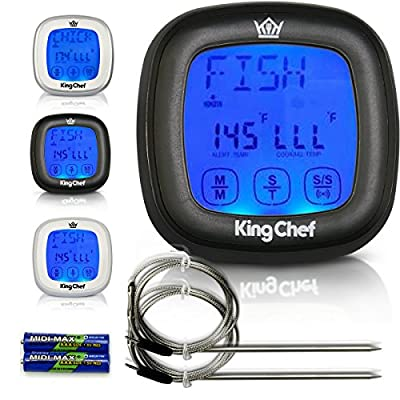 King Chef Barbecue Digital Thermometer & Timer with 2 Stainless Steel Probes, Refrigerator Magnets, and Instant Read Cooking - Best For Kitchen Grill Smoker BBQ Meats, Dairy, Candy by Pijio