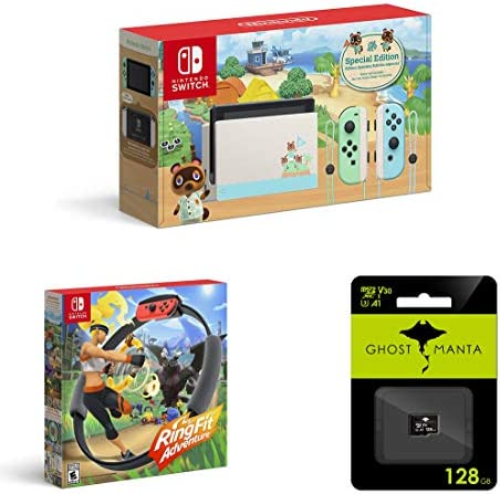 Nintendo Switch - 2020 Special Edition - Animal Crossing: New Horizons - Internal Storage 32GB - Bundle Ring Fit Adventure[Game] & Ghost Manta 128GB Micro SD Card