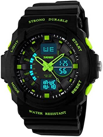Classical Fashion Water-resistance Watches for Children Casual Kids Watch Students Watch Boys Girls Outdoor Sports Watch Christmas Gift Watch (Green)