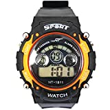 A1059 Sport Luxury Fashion Waterproof Watch Backlight Alarm Led Light Digital Quartz Silicon Wristwatches (orange)