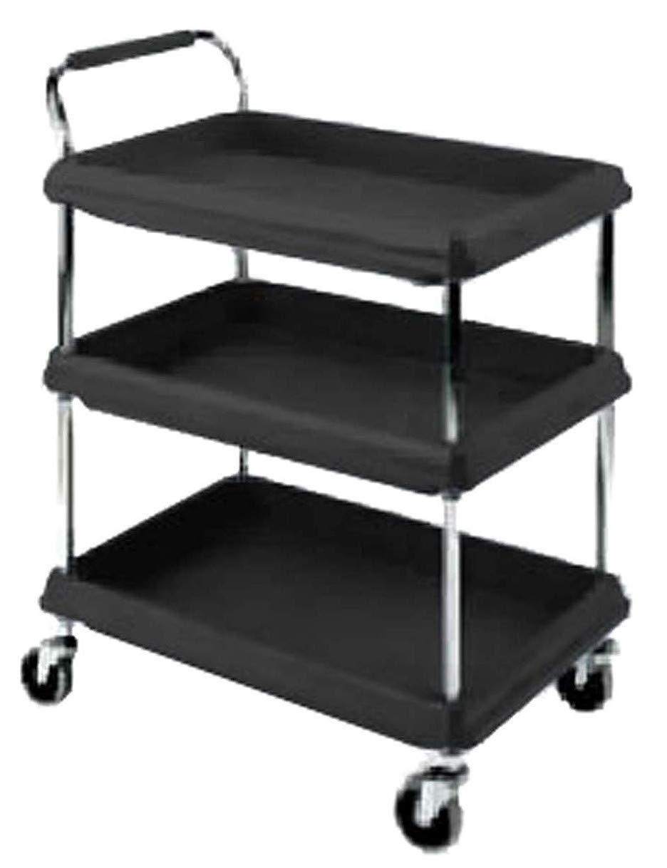 Metro Deep Ledge Series Polymer Utility Cart with 4 Swivel Casters, 3 Shelves, 400 lb. Total Capacity, 41'' Height x 21-1/2'' Width x 32-3/4'' Length, Black by METRO