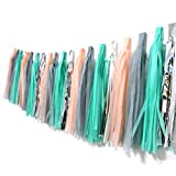 Tissue Paper Tassel Garland, Regmtme 20pcs Party & Wedding Decoration Paper Tassels (Gray+Green+Silver+Peach)