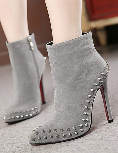 Zapatos 5 Negro Puntiagudos 5 Tacón Uk6 Casual Semicuero Gris Cn39 Black us8 Cn40 Uk6 Botas Eu39 Xzz Gray Stiletto us8 Mujer De dxqaXza