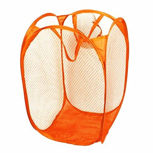 - LEFV™ Laundry Basket Deluxe Pop Up Mesh Hamper Clothes Sorter Folding Storage Tote Bag Case Open Bin - Multi Use for Toys Dirty Tidy Clothes Socks Underwear Bra Lingerie Orange