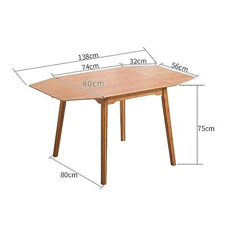 YueQiSong Mesa Plegable de Bambú, Mesa de Comedor, Mesa para Comer ...