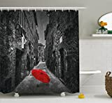 dark grey curtains amazon Ambesonne Black and White Shower Curtain, Red Umbrella on a Dark Narrow Street in Tuscany Italy Rainy Winter, Fabric Bathroom Decor Set with Hooks, 70 Inches, Grey Vermilion