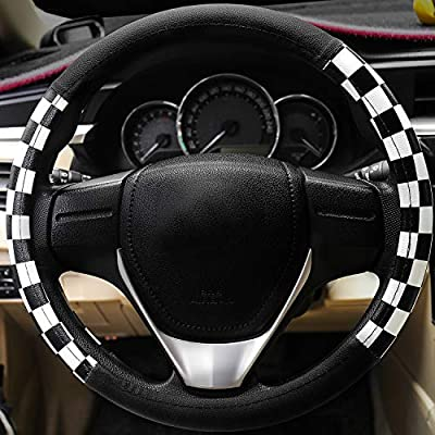 Evankin Microfiber Leather Checker Flag Black & Red Car Steering Wheel Cover Non-Slip and Comfortable Universal 15 inch Car Accessories(Lattice White): Automotive