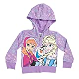 Disney Frozen Elsa, Anna and Olaf Girls Purple Zip-Up Hoodie Sweatshirt