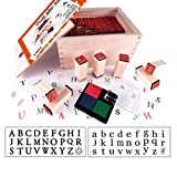 corssover Best Stamp Wooden Alphabet Stamps Rubber Dual ABC Letter with 4-Color Ink Pad Stamp Set for DIY Craft Card Making Happy Planner Scrapbooking Supplies (MS05-1)