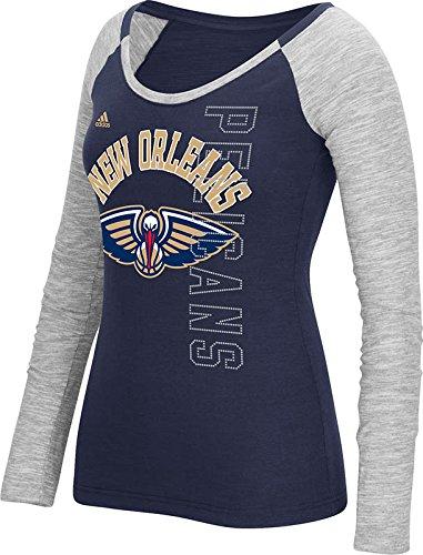 NBA New Orleans Pelicans Women's Team Liquid Dots Long Sleeve Slub Tee, Large, Navy