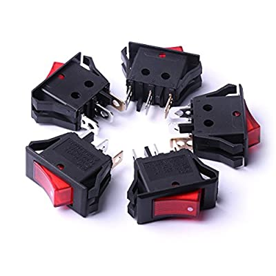 Atoplee 5pcs Tranches Red light 16A/20A 250V/125V Rocker Toggle Power Waveform Switch