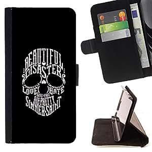 BullDog Case - FOR/Samsung Galaxy S6 / - / BEAUTIFUL SINNER SAINT SKULL BLACK WHITE /- Monedero de cuero de la PU Llevar cubierta de la caja con el ID Credit Card Slots Flip funda de cuer