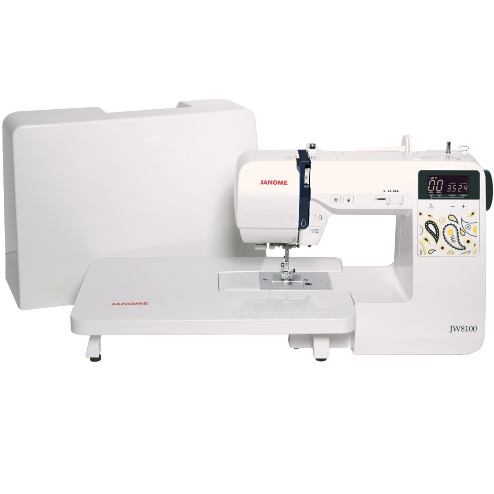 Janome Jw8100 Fully Featured Computerized Sewing Machine Kenmore Model 12 Threading Diagram With 100 Stitches 7 Buttonholes Hard Cover Extension Table And 22 Accessories