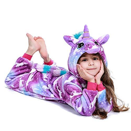 10 Year Old Costumes (FuRobes Kids Unisex Animal Polar Fleece Unicorn Onesie Pajamas Cosplay Costume for Halloween Party Purple Unicorn Zipper 10-12 Years)