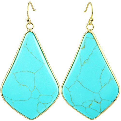 SUNYIK Women's Green Howlite Turquoise Large Rhombus Dangle Earrings