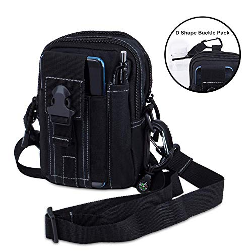 Keypower Utility Pouch Gadget Belt Waist Bag with Cell Phone Holster Holder for Compact 9mm 380 Subcompact Pistols Guns Concealed Carry Waist Pack/Holster (Black) (Abercrombie Belt)