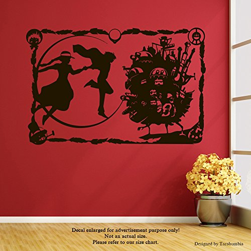Manga Anime Howl's Moving Castle Wall Decals Sophie And Howl Stickers Decorative Design Ideas For Your Home or Office Walls Removable Vinyl Murals EC-1091