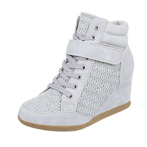 Italienne Conception De Chaussures Pour Femmes Casual Baskets Gris Haute Lumi