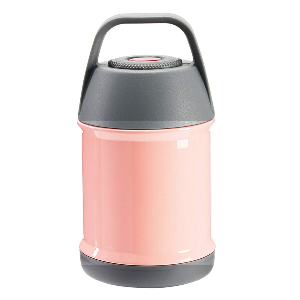 Insulated Thermos Food Container Double Wall Bento Box Hot or Cold Food Vacuum Flask Stainless Steel Thermal Lunch Box Food Jar for Soup 450ml (Pink)