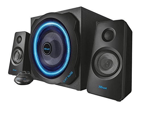 Trust Gaming GXT 628 120 Watts 2.1 Gaming Speakers for PC, Wii, Xbox 360 & PlayStation 3, Illuminated with LED Lights and Subwoofer