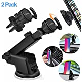 Pop Out Stand Car Mount [2-Pack] Car Air Vent Clip Holder Adjustable Arm Reusable Suction Dashboard Windshield Holder Car Mount Expanding Grip Samsung Galaxy Sony LG Oneplus Huawei Xiaomi