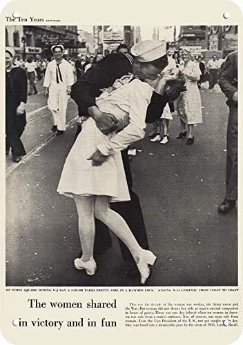 (onepicebest 1945 U.S. Navy Sailor Kisses WAC Army Nurse On WWII V-J Day Replica Metal Sign 7