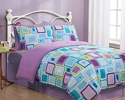 Deluxe Purple Flora Textured Comforter 7 pcs King Queen Bedding Set New