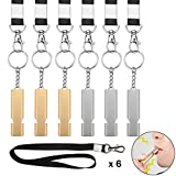 6Pcs Emergency Whistles Survival Loud - Aluminum alloy metal Whistle with Lanyard and Keyring - Double Tubes High Decibel Whistles Necklace for School Gym Camping Hiking Training(12Pcs in Total)