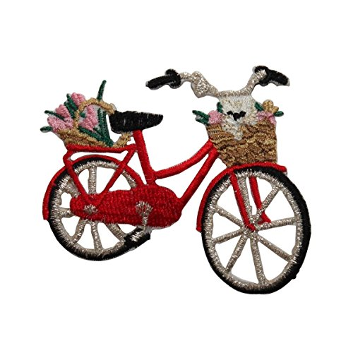 Bicycle Applique - ID 6974 Classic Red Bicycle With Basket Patch Bike Embroidered Iron On Applique