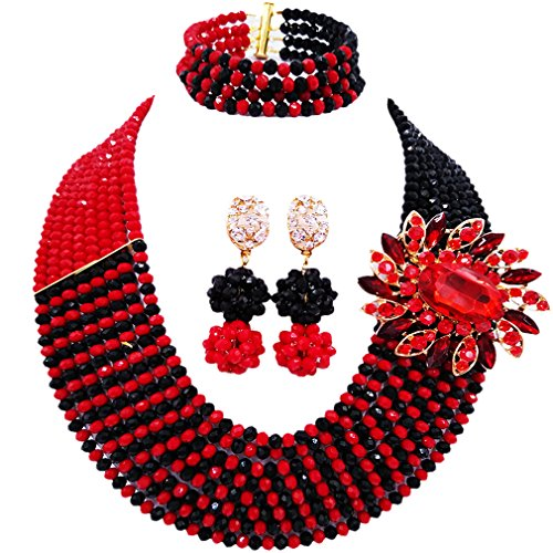 laanc Jewellery 8 Rows Red and Multicolor Gradient Crystal African Beads Nigerian Wedding Jewelry Sets (Opaque Red Black) (Red Crystal Black)