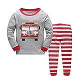 Boys Pajamas Bulldozer Toddler Pants Set 100% Cotton Kids Size 2-7 Years (6, Gray/red)