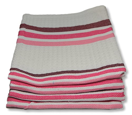 Fine Quality Waffle Weave Kitchen Towels Dish Cloth 4-Pack, 100% Cotton Tea Towels, Super Absorbent, 28 by 18.5 Inch - Vintage Modern Striped Dish Towels - Pink Stripe - Woven Tea Cart