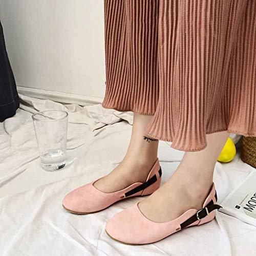 Primavera Pantofole On Fibbia Grandi Mocassino Basse Dimensioni Pink Confortevole Eleganti Loafer Scamosciato Estate Ballerine scarpe Slip Donna Cintura Con Sandali vq44Uw1
