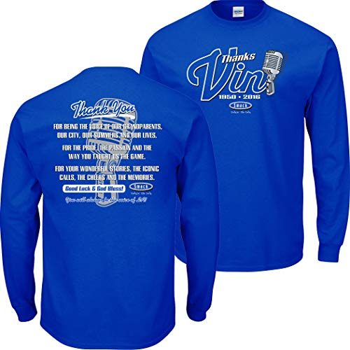 Los Angeles Baseball Fans. Vin Scully Tribute. Blue T-Shirt (Sm-5X) (Long Sleeve, X-Large)