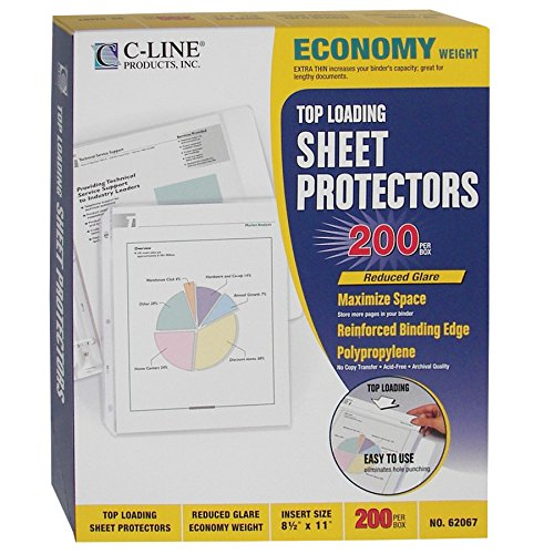 C-Line Top Loading Economy Weight Poly Sheet Protectors, Reduced Glare, 8.5 x 11 Inches, 200 per Box (Poly Shop Ticket Holders)
