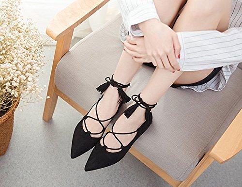 SFSYDDY primavera de las mujeres coreanas zapatos con puntas a juego zapatos de boca poco profundos zapatos de una hada de ocio negro
