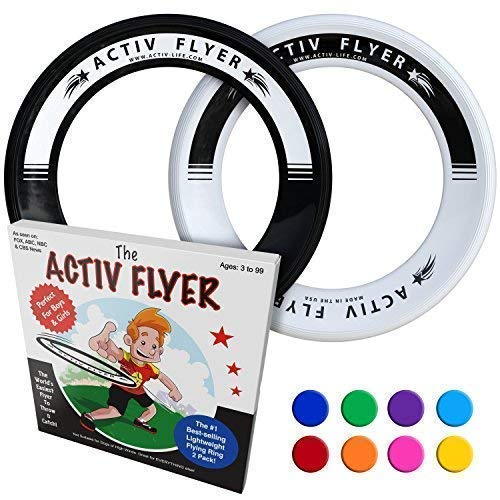 Active Life Best Kid's Frisbee Rings [Black/White] 2 Pack - Summer Beach Gear Items and Swimming Pool Toys - Water Games Sand Lawn Fun Stuff - Outdoor Toddler & Outside Family Essentials
