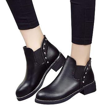 1b38d965c1ac3 Sonnena bota corta Casual - Zapatos planos de mujer remaches Casual Boots  Botines de cuero con punta redonda  Amazon.es  Hogar