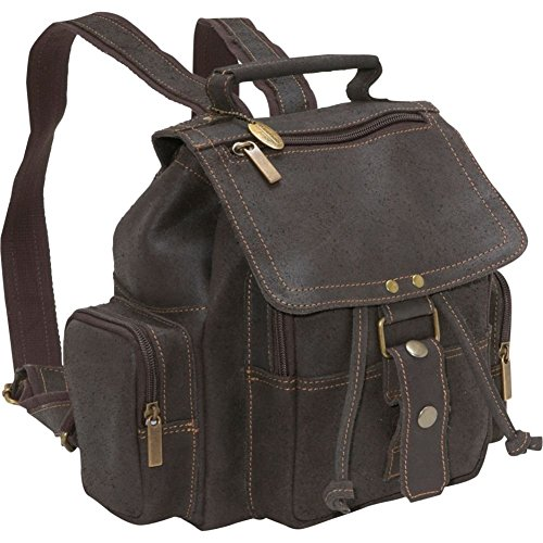David King Distressed Mid Size Top Handle Leather Backpack in Brown (King David Distressed Leather)