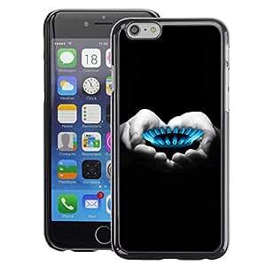 A-type Arte & diseño plástico duro Fundas Cover Cubre Hard Case Cover para Apple (4.7 inches!!!) iPhone 6 / 6S (Gas Flame Heart Hands Black White Deep)