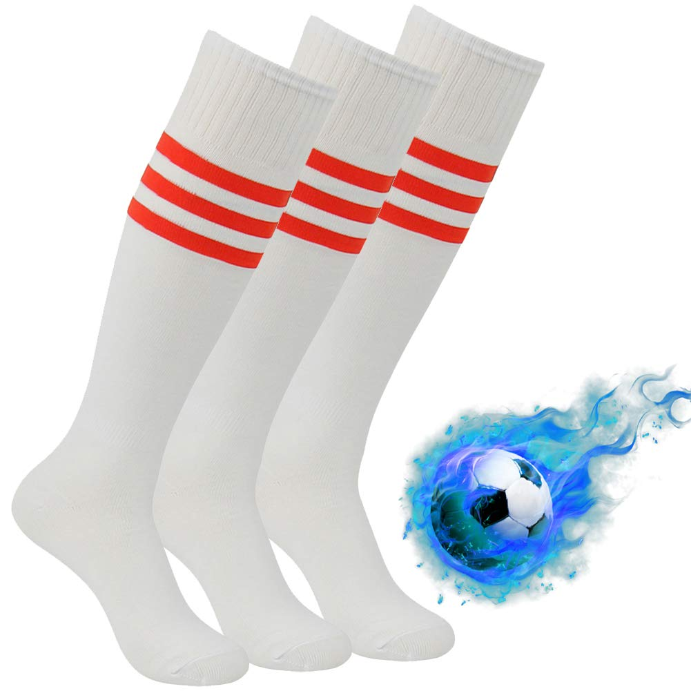 Softball Socks, Atrest Men's Women's Over Knee High Athletic Team Football Soccer Tube Socks Performance Costume Cheer Socks White+Red Stripe 3 Pairs by Atrest